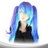 亮天蓝色双马尾长卷假发