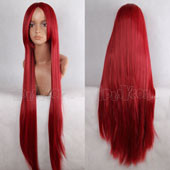 Red 100cm  Long Straight Anime Cosplay Synthetic  Wig