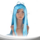 青色长直假发