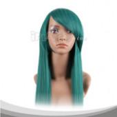 绿色长直假发