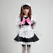 maid-equipment-cosplay-women-s-black-maid-costume-with-a-pink-bowknot-lolita-apron-dress-set-s