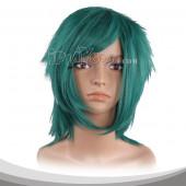 蓝绿色中直假发