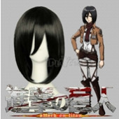Attack on Titan Mikasa Ackerman Brown Medium Straight Anime Cosplay Wig