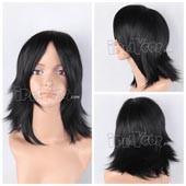 Black 43cm Medium Straight Anime Cosplay Wig