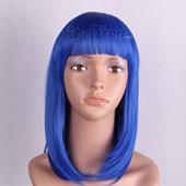Blue Medium Straight Two Braids Anime Cosplay Wig