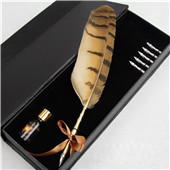 Natural owl feather pen set unique business corporate souvenir gift