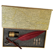Vintage Style Rose Red Feather Quill Nib Pen & Writing Ink set