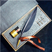 Vintage Style Black Feather Quill Nib Pen & Writing Ink set