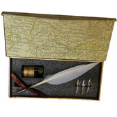Vintage Style white Feather Quill Nib Pen & Writing Ink set