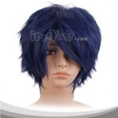 深蓝色蓬松短发假发