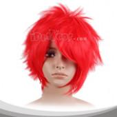 红色内收蓬松短发假发
