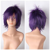 Purple Short Straight Anime Cosplay Synthetic Wig