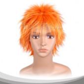 橙黄色蓬松短发假发