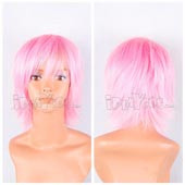 Light Pink Short Straight Anime Cosplay Synthetic  Wig