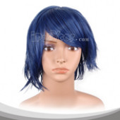 深蓝色短发假发