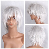 Silvery White Short Straight Anime Cosplay Wig