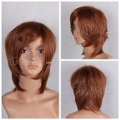 Brown Short Straight Adductive Anime Cosplay Wig