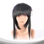 黑色长发(紫色头绳)假发